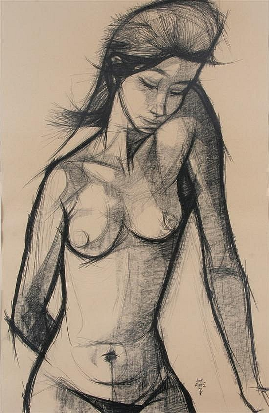 JORDI ALUMA (Spanish, b. 1924). NUDE FIGURE, signed lower right. Charcoal and pencil.