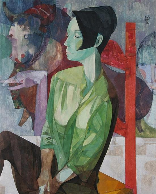 JORDI ALUMA (Spanish, b. 1924). LA CHICA DEL TORO, signed upper right. Titled, signed, inscribed and dated Barcelona 1966 on reverse. T