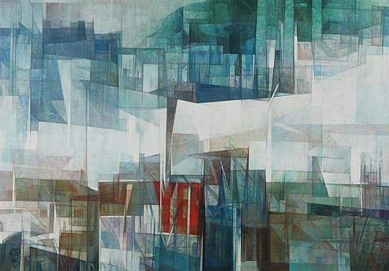 JORDI ALUMA (Spanish, b. 1924). ABSTRACT CITYSCAPE, signed upper right. Inscribed A mis amigos/Mary y Guy/Coriden/Barcelona 1981 on a l