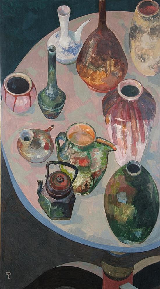 JORDI ALUMA (Spanish, 1924). TABLE TOP STILL LIFE, signed lower left. Tempera on board.