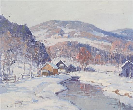 CAMILLO ADRIANI (American, 20th century). CABINS BY A WINTER STREAM, signed lower left. Oil on canvas.