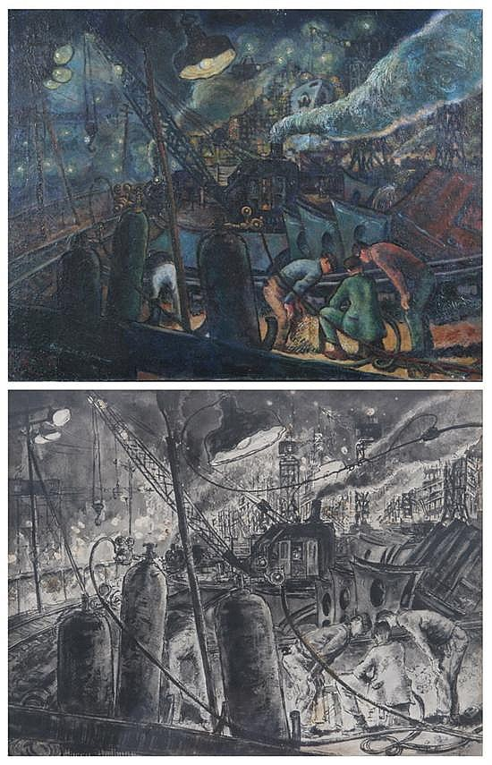 HARRY ZEE HOFFMAN. (American, 1908-1990). BETHLEHEM STEEL, BALTIMORE, signed lower left. Oil on canvas - 28 in. x 36 in. Together withB