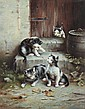 JOHANN HARTUNG (German/Austrian, 1836-1918). FOUR CURIOUS KITTENS, signed lower left. Oil on wood panelClick here to view supplemental, Johann Hartung, Click for value