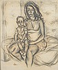 F. GIMPEL (England, mid 20th century). MOTHER AND CHILD, circa 1945. Pencil and black chalk drawing..