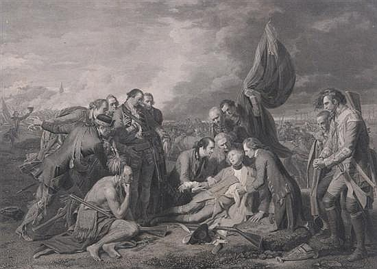 WILLIAM WOOLLETT (British, 1735-1785). The Death of General Wolfe, After the original by Benjamin West. Black and white engraving. Publ
