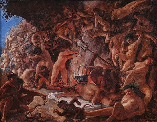 HERMAN LIPOT (Hungarian, 1884-1972). FIGURES IN HELL, signed lower right. Oil on canvas.