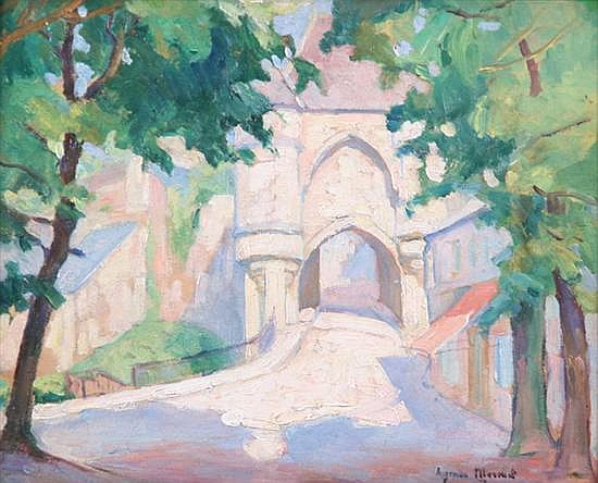 AYMAR MERMET (French, b. 1895). OLD ENTRANCE GATE TO FRENCH VILLAGE, signed lower right. Oil on board.