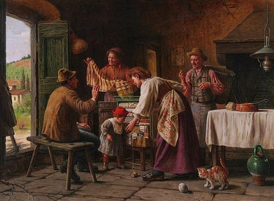 GIOVANNI SANDRUCCI (Italian, 1828-1897). THE LINEN CABINET, signed upper right. Oil on canvas.