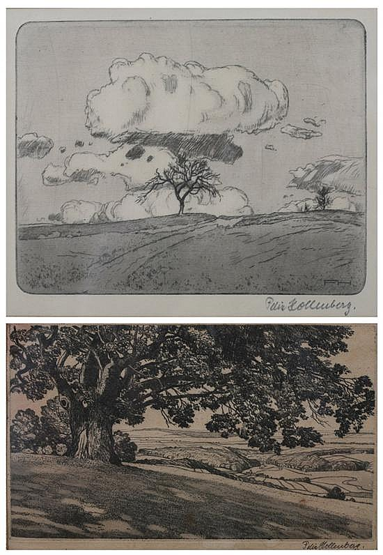 FELIX HOLLENBERG (German, 1868-1945). ELM TREE IN PASTURES and CLOUD STUDY: TWO WORKS, each signed lower right in pencil. Etchings on p