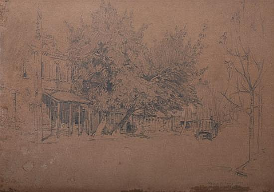 HELEN M. GROSE (American, b. 1880). WEST WALNUT STREET, LANCASTER PENNSYLVANIA, Signed, located and dated 1913 lower right. Pencil on b