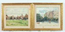 AUGUSTA KOCHANOWSKA (Polish, 1863-1927). STREET SCENES, LODZ: TWO WORKS, each signed lower right. Watercolor.