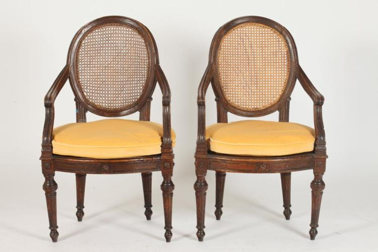 pair of french louis xvi walnut cane fauteuil 18th century. Black Bedroom Furniture Sets. Home Design Ideas