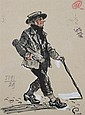 M. DOBUJINSKY (Russian, 20th century). MAN WITH CANE, signed and dated 1939 lower left. Ink on paper.