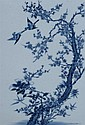 CHINESE BLUE AND WHITE PORCELAIN PLAQUE. - 14 1/4 in. x 9 3/4 in.