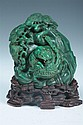 CHINESE MALACHITE FIGURE OF LOHAN. - 3 1/2 in. high.