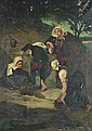 CONTINENTAL SCHOOL (19th century). FOUR WOMEN AT THE WELL, oil on canvas.