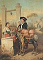 **** LE GOUS (Continental, 19th century). LOVERS AT THE WELL, signed lower right. Oil on canvas.