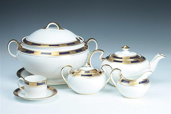 87-PIECE AYNSLEY BONE CHINA DINNER SERVICE,