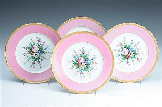 FOUR PARIS PORCELAIN PLATES, late 19th-early 20th century; impressed A.R. mark, faded Jean Boetter, Chicago, Ill mark. - 8 in. diam.