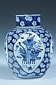 CHINESE BLUE AND WHITE PORCELAIN JAR AND COVER, Kangxi four character underglazed blue mark, 19th century. - 12 in. high.