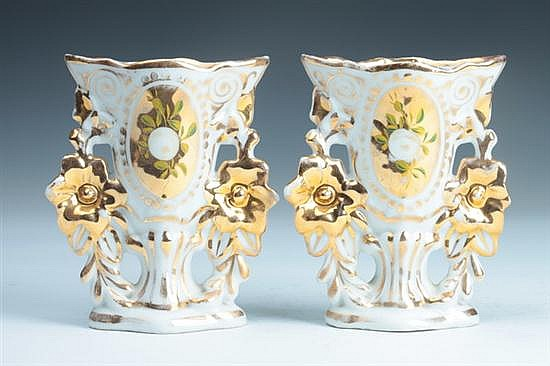 PAIR PARIS PORCELAIN VASES, mid-to-late 19th century. - 5 3/4 in. high.