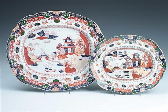 TWO ENGLISH IRONSTONE PLATTERS. - 7 1/2 in. x 9 3/4 in. to 10 1/2 in. x 13 in.
