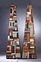 PAIR CONTEMPORARY POLYCHROME-PAINTED OBELISKS. - 97 in. x 26 1/2 in.