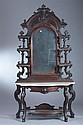 VICTORIAN WALNUT ENTRY-HALL MIRROR WITH MARBLE-TOP CONSOLE, 19th century. - 84 in. x 44 in. x 10 in.