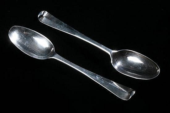 TWO GEORGE II IRISH SILVER SOUP SPOONS BY ESTHER FORBES, Dublin, circa 1733. - 4 oz., 4 dwt.; 8 1/8 in. long.