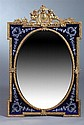 LOUIS XVI STYLE GILT-METAL AND ETCHED COBALT GLASS UPRIGHT RECTANGULAR WALL MIRROR,