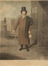 "ENGLISH MEZZOTINT OF COACHMAN AFTER SAMUEL DE WILDE, 19th century, after Samuel de Wilde (1751-1832). - Framed: 26 1/2"" high x 21"" wide"