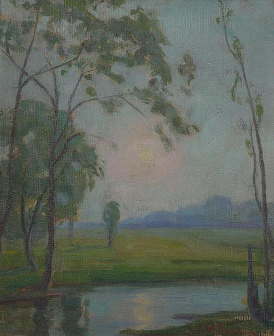 WILLIAM. E. GREASON (American, 1884 - 1945). MISTY MORNING, signed lower right. Oil on canvas board.