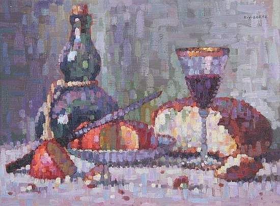 RICHARD VERNON GOETZ (American, 1915-1991). STILL LIFE WITH WINE, signed upper right. Oil on canvas.