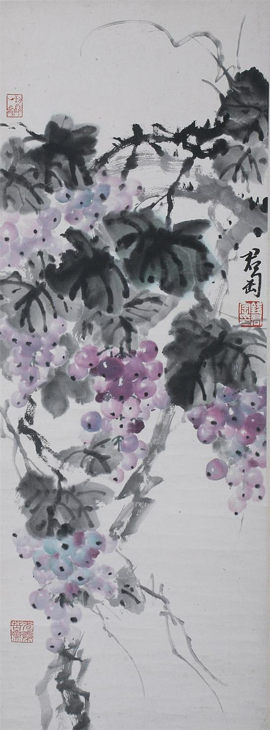 AFTER QIAN JUNTAO (Chinese, 1907-1998). GRAPES, ink and color on paper scroll, signed and sealed.
