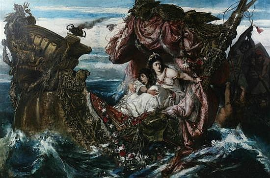 GUSTAV WERTHEIMER (Austrian, 1847-1902). THE SHIPWRECK OF AGRIPPINA, oil on canvas.