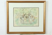 AARON SOPHER (American, 1905-1972). BRYN MAWR FAIR, signed, titled and dated 1965 lower right. Pen and ink with watercolor .