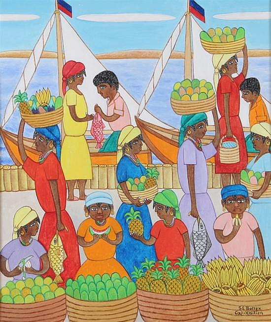 SEYMOUR E. BOTTEX (Haitian, b. 1918). MARKET ON FISHING DOCKS, signed lower right. Oil on board.