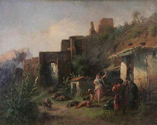 ALBERT KINDLER (German, 1833-1876). DANCING GYPSY AMONG RUINS, signed lower right. Oil on canvas.