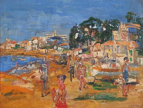 PAUL MAAS (Belgian, 1890- 1962). AT THE BEACH, signed lower right. With plaque dated 1947 and located Brussels. Oil on canvas.