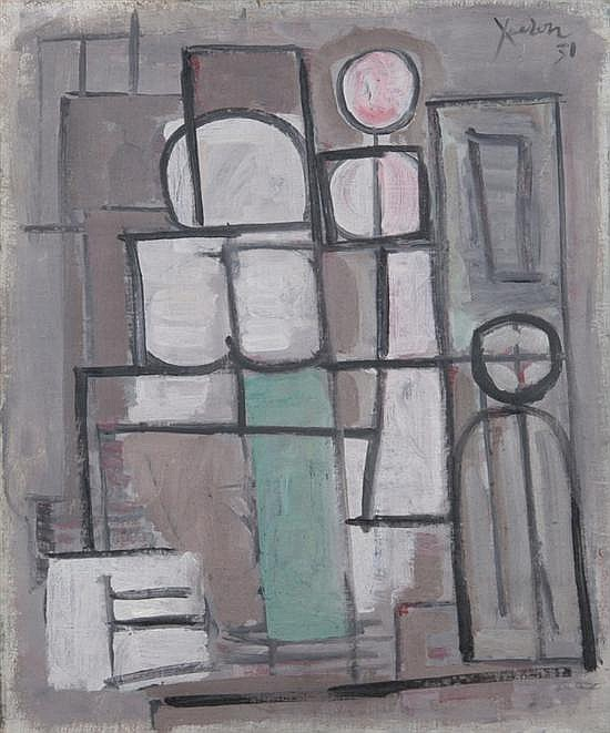 JEAN XCERON (American, 1890-1967). COMPOSITION EN ROSE # 19, signed and dated 31 upper right. Signed, titled, located Paris and dated 1