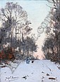 JOSEPH FRANÇOIS (Belgian, 1851-1949). SNOW COVERED PATH THROUGH FOREST WITH FIGURE, signed lower left. Oil on canvas., Joseph-Charles François, Click for value
