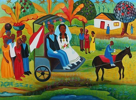 FRITZNER ALPHONSE (Haitian, b. 1938). THE WEDDING PARTY, signed lower right. Oil on canvas.