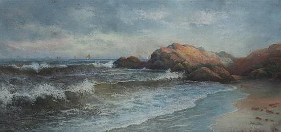WILLIAM HENRY CHANDLER (American, 1854-1928). ROCKY SHORELINE, signed lower right. Pastel.