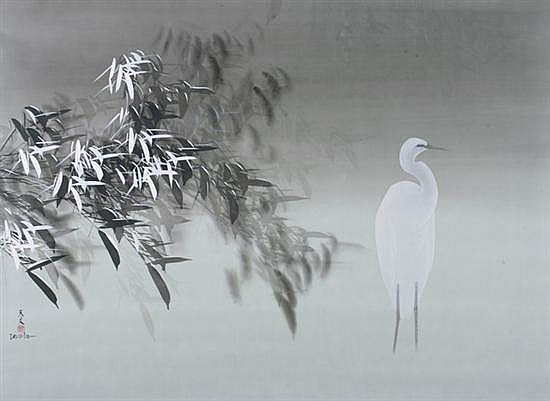 DAVID LEE. (Chinese, b. 1944). CRANE AND FOLIAGE, Signed and sealed in Chinese, signed David Lee lower left, ink on silk laid on canvas