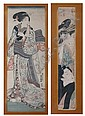 UTAGAWA TOYOKUNI. (Japanese, 1769-1825). GEISHA, color woodcut, framed. Together with KIKUGAWA EIZAN (Japanese, 1787-1867), TWO GEISHA,,  Toyokuni (1769), Click for value
