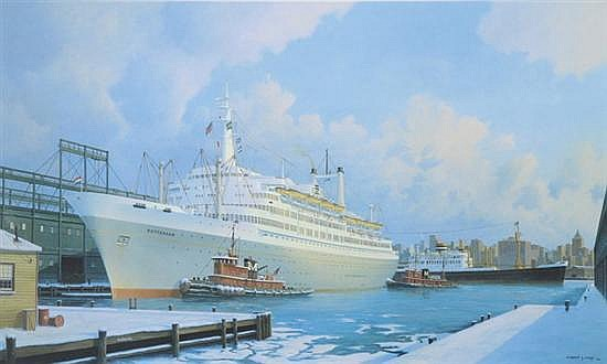 STEPHEN J. CARD. (British, 20thcentury). S.S. Rotterdam Holland-America Line 1959-1997, Color lithograph, pencil singned and number 587