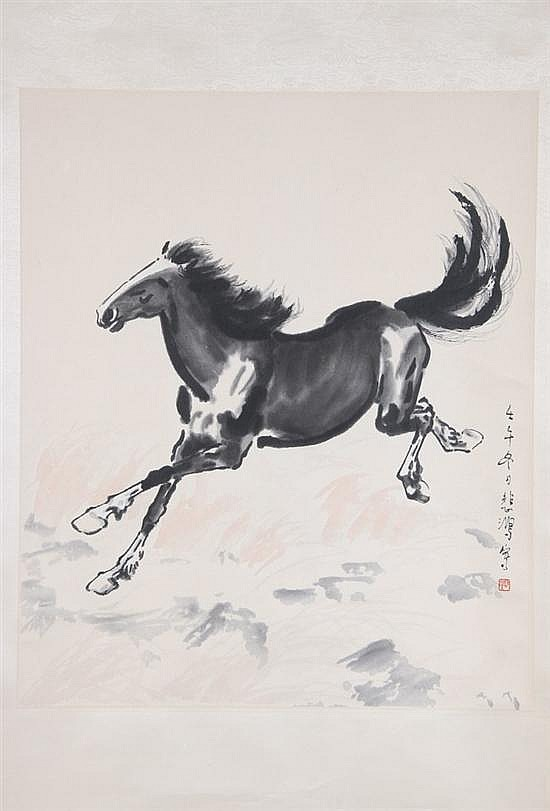 XU BEI HONG. (Chinese, 1895-1953). RUNNING HORSE, Ink on paper, woodcut print; scroll.