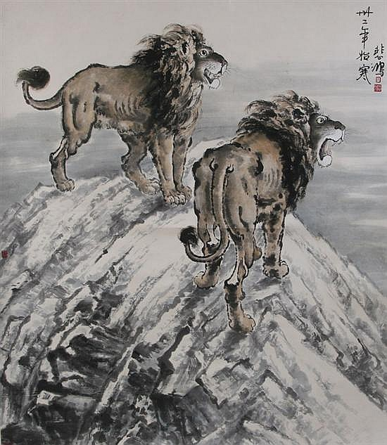 AFTER XU BEI HONG (Chinese, 1895-1953). TWO LIONS, ink and color on paper, signed and sealed.