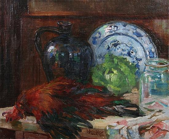 JACQUES STERNFELD (Austrian, 1874-1934). STILL LIFE WITH DELFT PLATE, CABBAGE, JUG AND FOWL, signed and dated 1921 lower center, signed