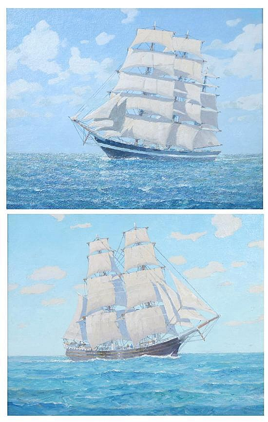 ARTHUR S. ALLIS (American, 1904-1973). SCHOONERS -- OUTWARD AND HOMEWARD BOUND: TWO WORKS, oil on canvas board.